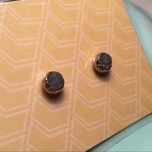 Electroplated druzy stud earrings